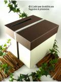 1 Urne tirelire carrée chocolat et ivoire