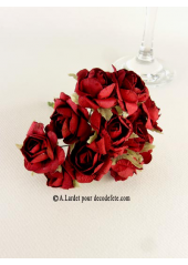 12 Roses ouvertes rouge