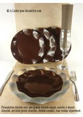 10 Assiettes à dessert fleur chocolat