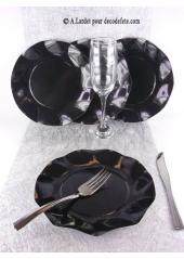 10 Assiettes à dessert fleur noir