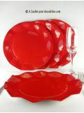10 Assiettes fleur rouge