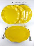 10 Assiettes fleur jaune