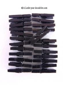 24 Pinces à linge noir