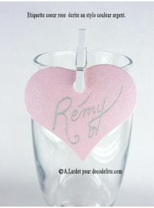 12 Etiquettes coeur ROSE NACRE
