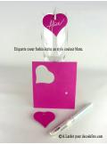 12 Etiquettes coeur FUSHIA