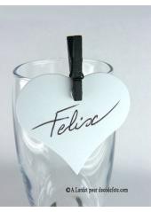12 Etiquettes coeur BLANC