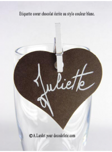 12 Etiquettes coeur CHOCOLAT