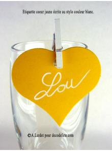 12 Etiquettes coeur JAUNE