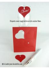 12 Etiquettes coeur ROUGE