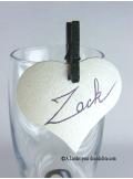 12 Etiquettes coeur IVOIRE