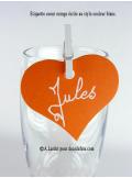 12 Etiquettes coeur ORANGE