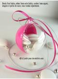 1 Boule transparent fushia 5cm