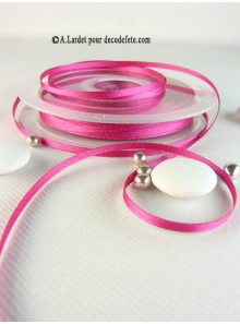 50m Ruban 3mm satin fushia