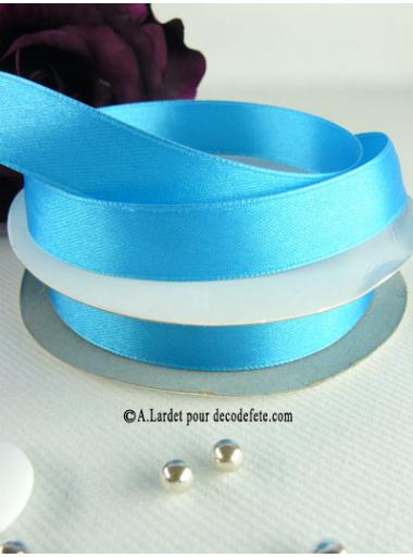 25m Ruban 15mm satin turquoise