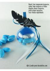 1 Boule transparent turquoise 5cm