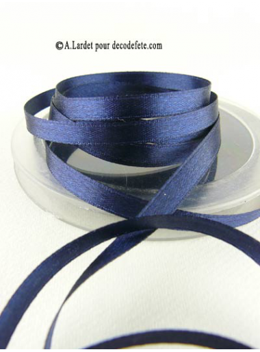 25m Ruban 6mm satin bleu marine