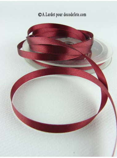 25m Ruban 6mm satin bordeaux
