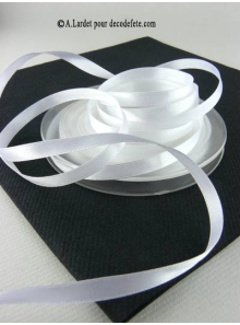 25m Ruban 6mm satin blanc