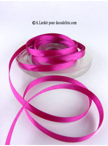 25m Ruban 6mm satin fushia