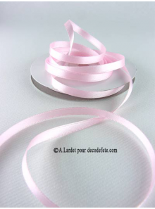 25m Ruban 6mm satin rose