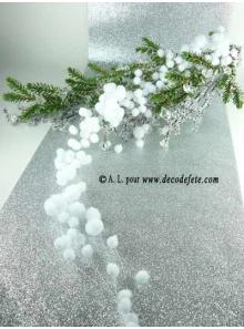 1 Guirlande boules de neige blanche 78cm