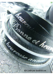 10m Ruban 10mm satin BONNE ET HEUREUSE ANNEE noir