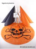 6 Sous assiettes Tête de mort orange