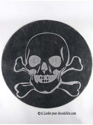 6 Sous assiettes Tête de mort noir