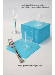 100 Serviettes cocktail turquoise