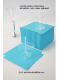 50 Serviettes cocktail turquoise