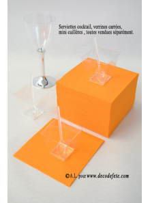 50 Serviettes cocktail mandarine