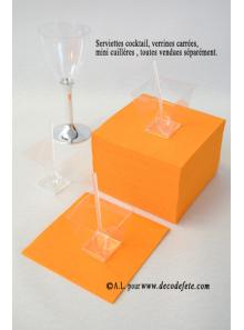 100 Serviettes cocktail mandarine
