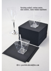 50 Serviettes cocktail noir