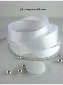 25m Ruban 15mm satin blanc