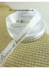 10m Ruban 10mm satin blanc BONNE ET HEUREUSE ANNEE or
