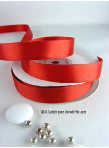 25m Ruban 15mm satin rouge