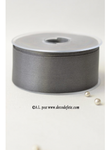25m Ruban 38mm satin gris anthracite