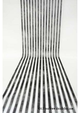 Chemin de table ray noir et blanc les ustensiles de cuisine - Chemin de table noir et blanc ...