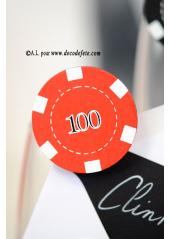 4 Pinces Jetons de casino rouge et noir