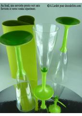 10 Flutes à champagne vert anis