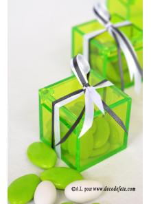 4 Boites cube transparent vert anis