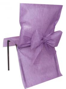10 Housses de chaise parme avec noeuds