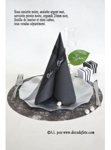 10 Sous assiettes FIBRE noir
