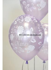 6 ballons Vive les Mariés lavande nacré