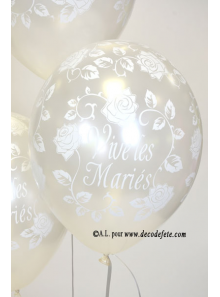 6 ballons Vive les Mariés blanc nacré