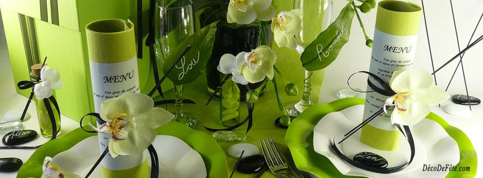 Une décoration ZEN luminueuse grâce à la couleur vert anis associée au noir  profond des galets et baguettes de bois noir !