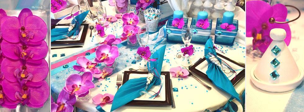 décoration de table turquoise - déco de fête