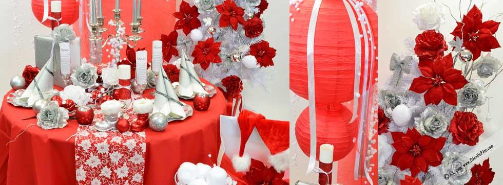 Une décoration de table de noël en rouge et blanc.