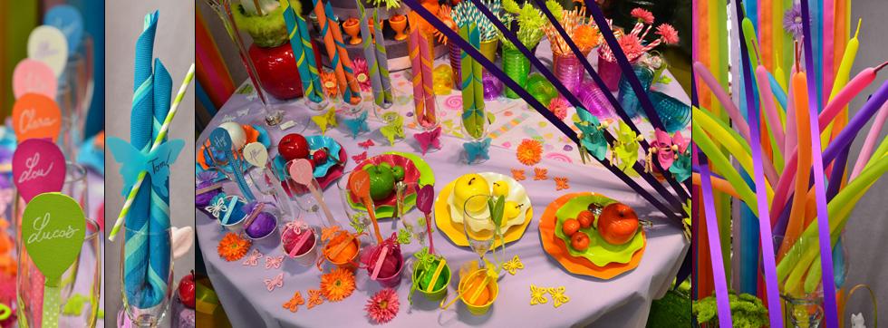 Id es d 39 ambiance d co d co de f te - Deco table multicolore ...